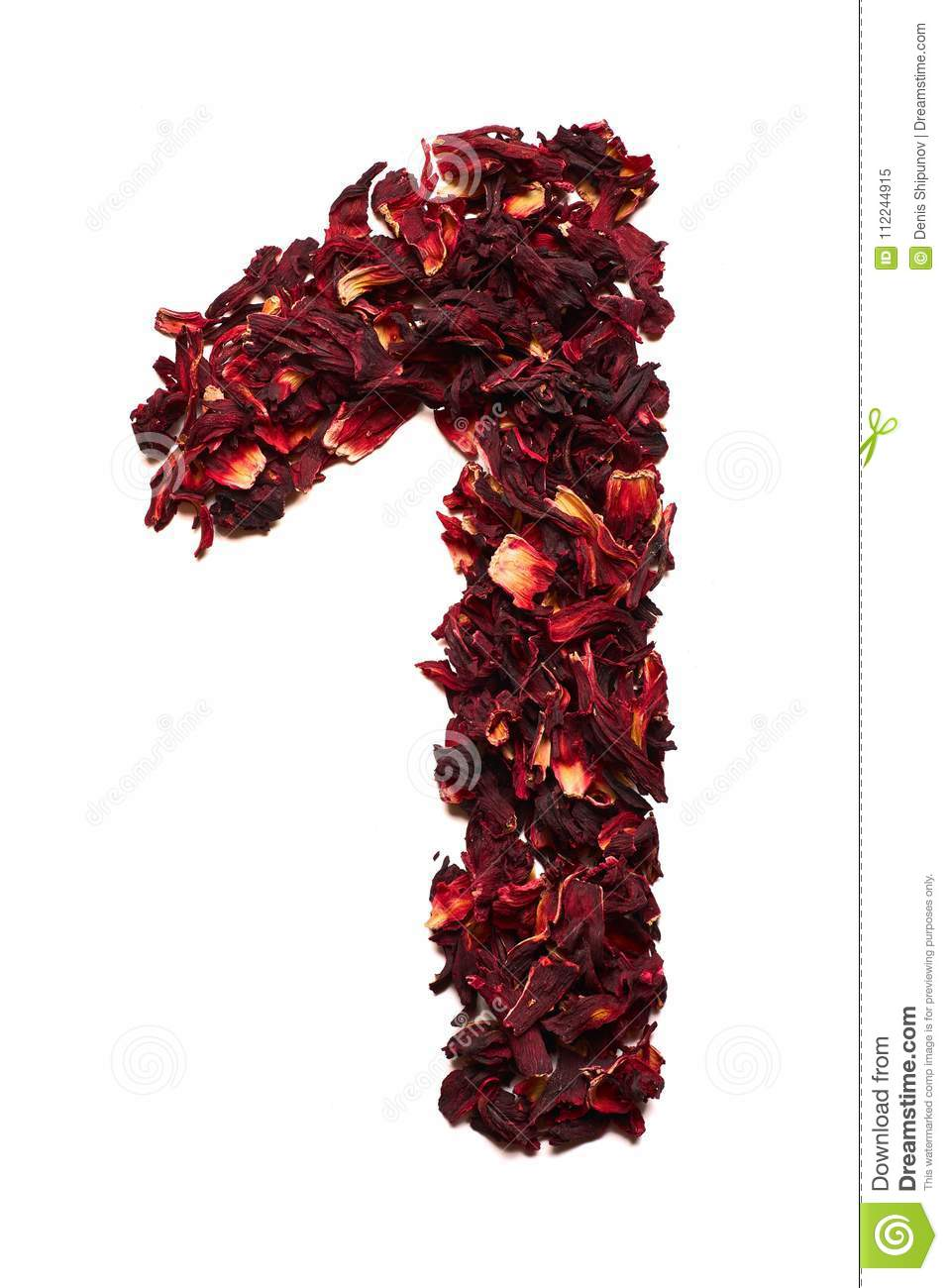Number 1 from dried flowers of hibiscus tea on a white background number 1 from dried flowers of hibiscus tea on a white background number for banners izmirmasajfo