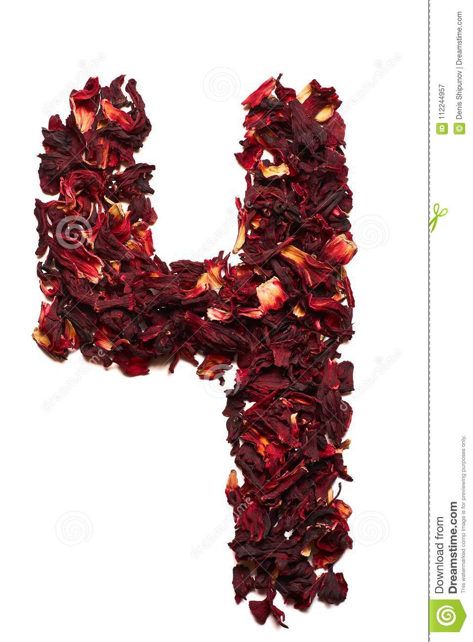 Number 4 from dried flowers of hibiscus tea on a white background download comp izmirmasajfo