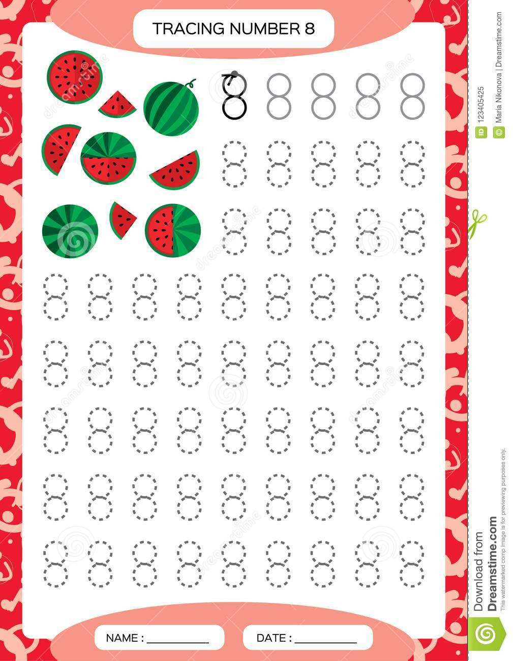 Number 8. Eight . Tracing Worksheet For Kids. . Watermelon ...
