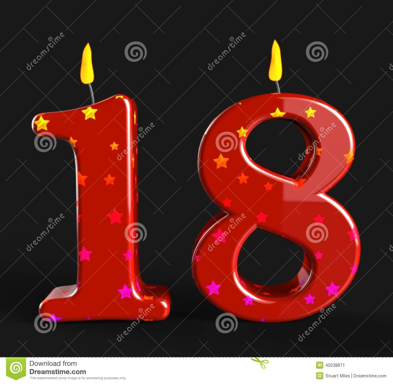 Number Eighteen Candles Show Teen Birthday Or Stock