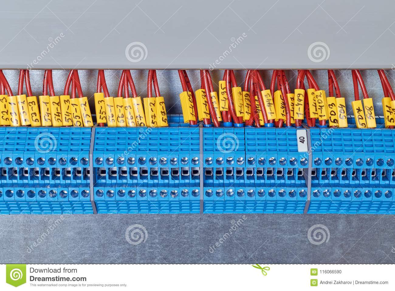A Number Of Electrical Transmission Terminals With Electrical Wires ...