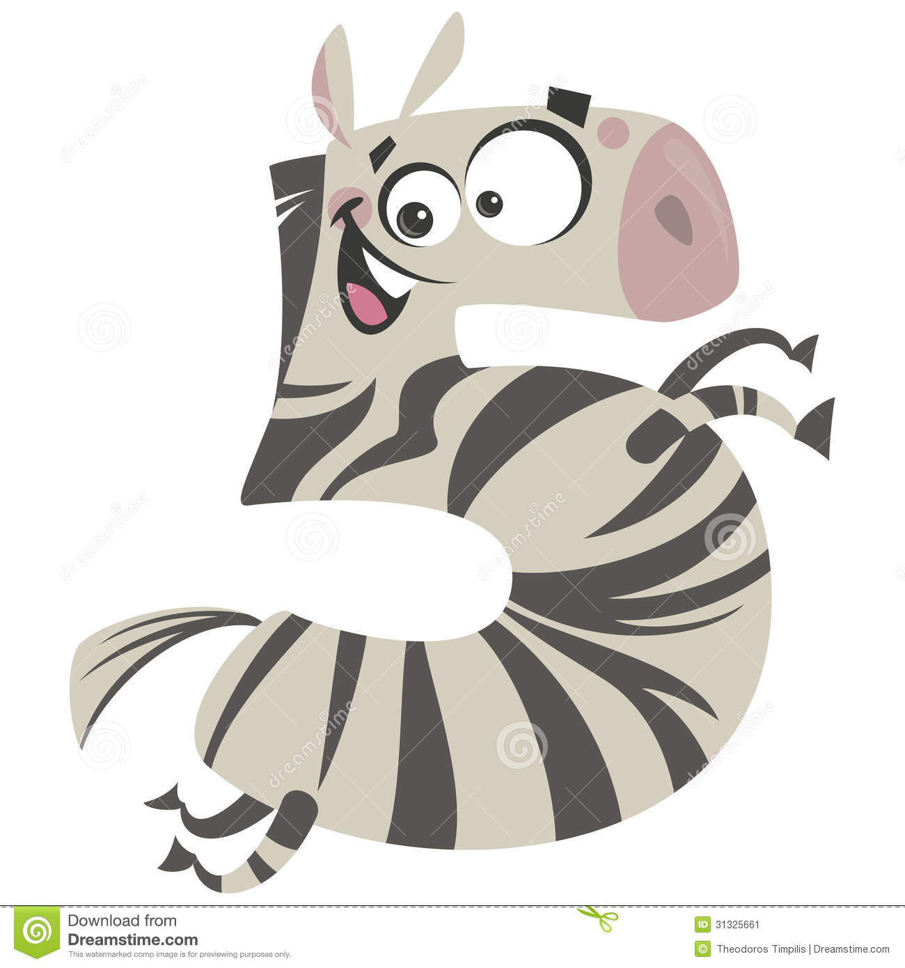 number 5 excited cartoon zebra gallop stock vector illustration of maths  isolated 31325661 zebra print clip art black and white zebra print border clip art