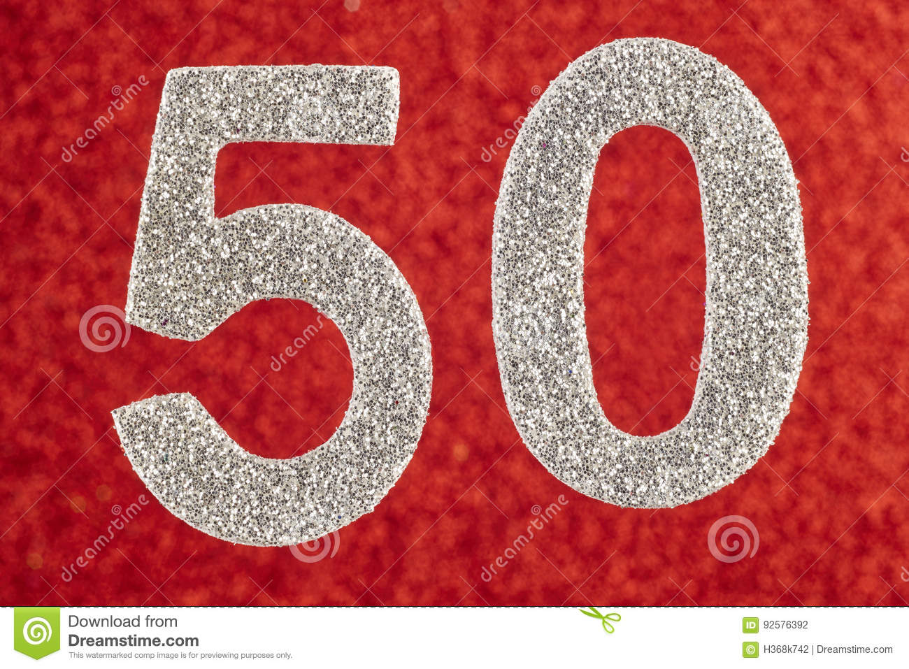Number fifty silver color over a red background. Anniversary.