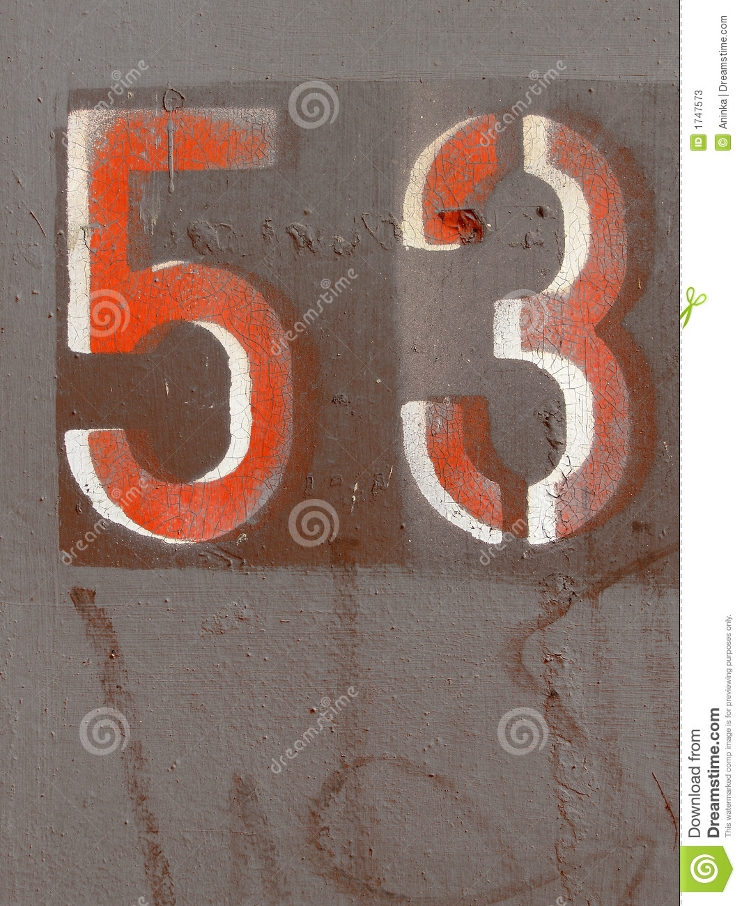 Number Fifty Three Stock Image  Image Of Oxidized  Stencil