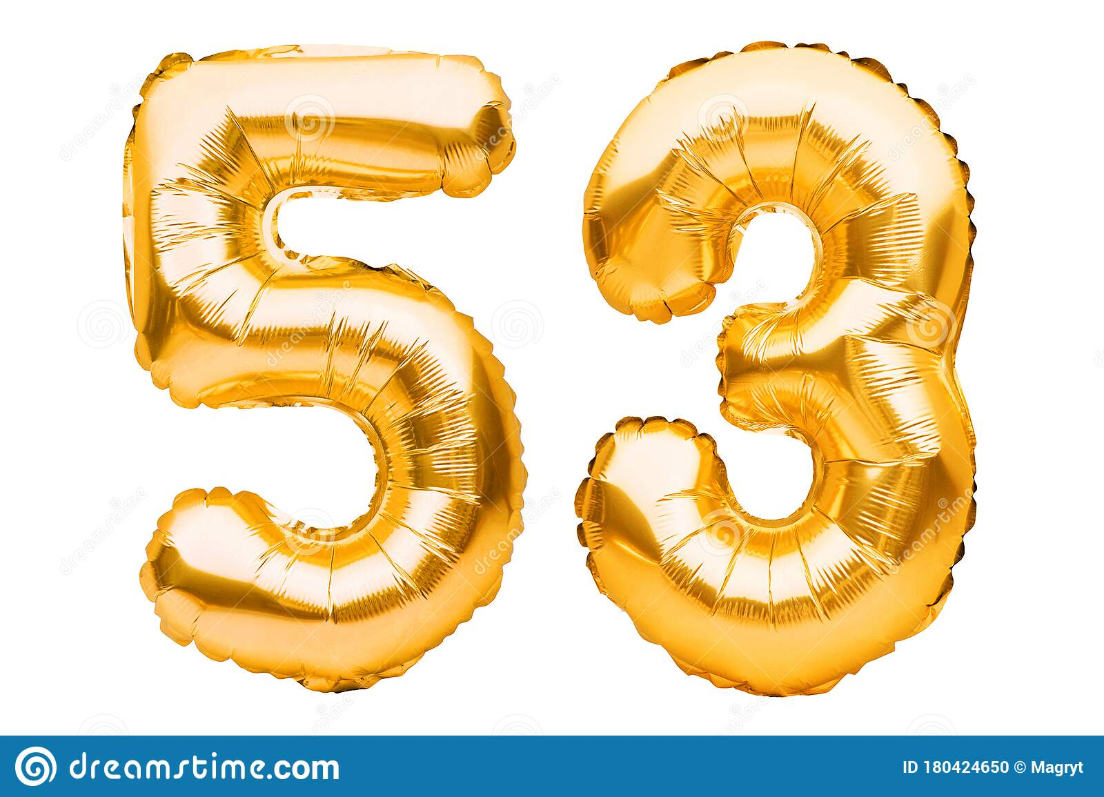 Number 53 Fifty Three Made Of Golden Inflatable Balloons
