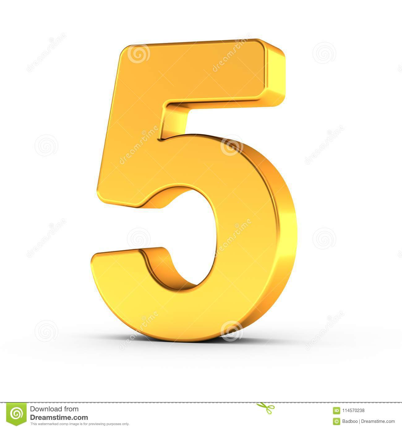 The number five as a polished golden object with clipping path