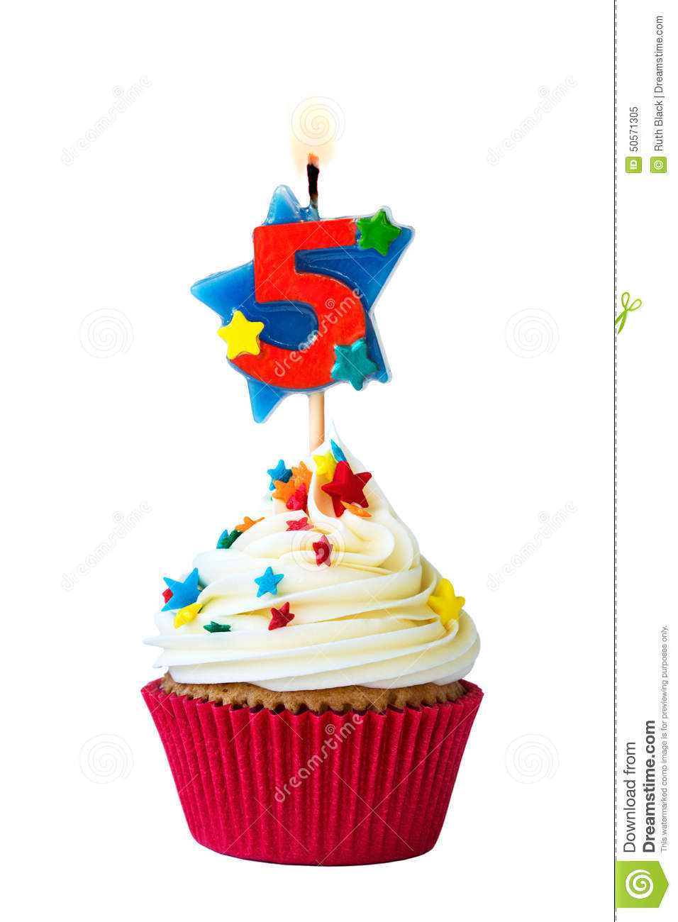 Number Five Cupcake Stock Photo Image 50571305