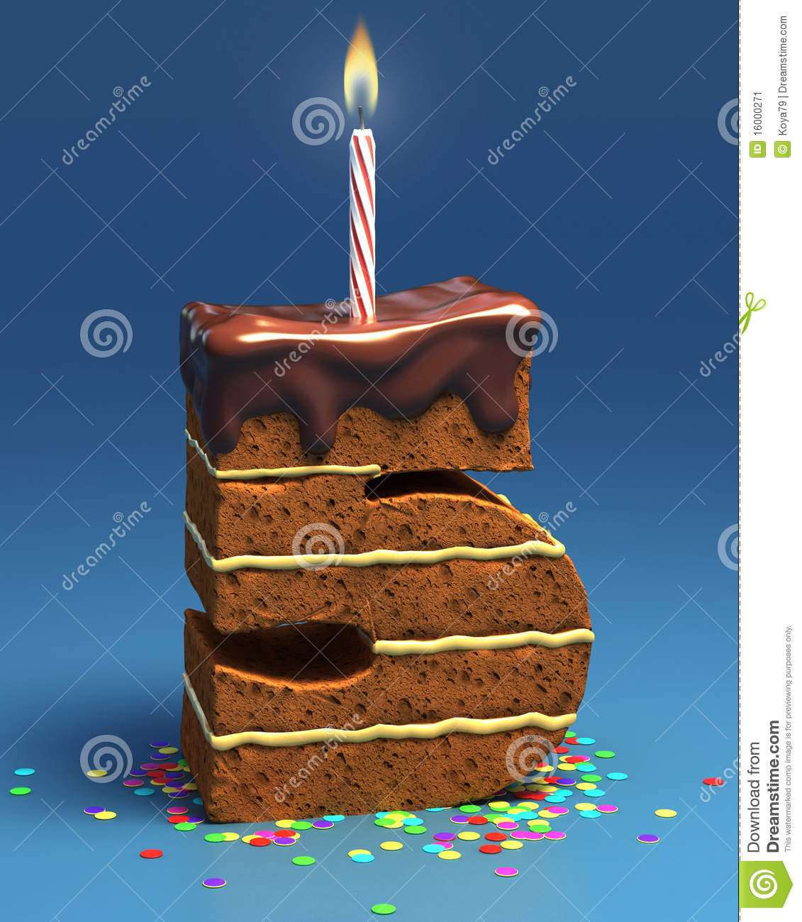 Number Five Shaped Birthday Cake Stock Image - Image: 16000271
