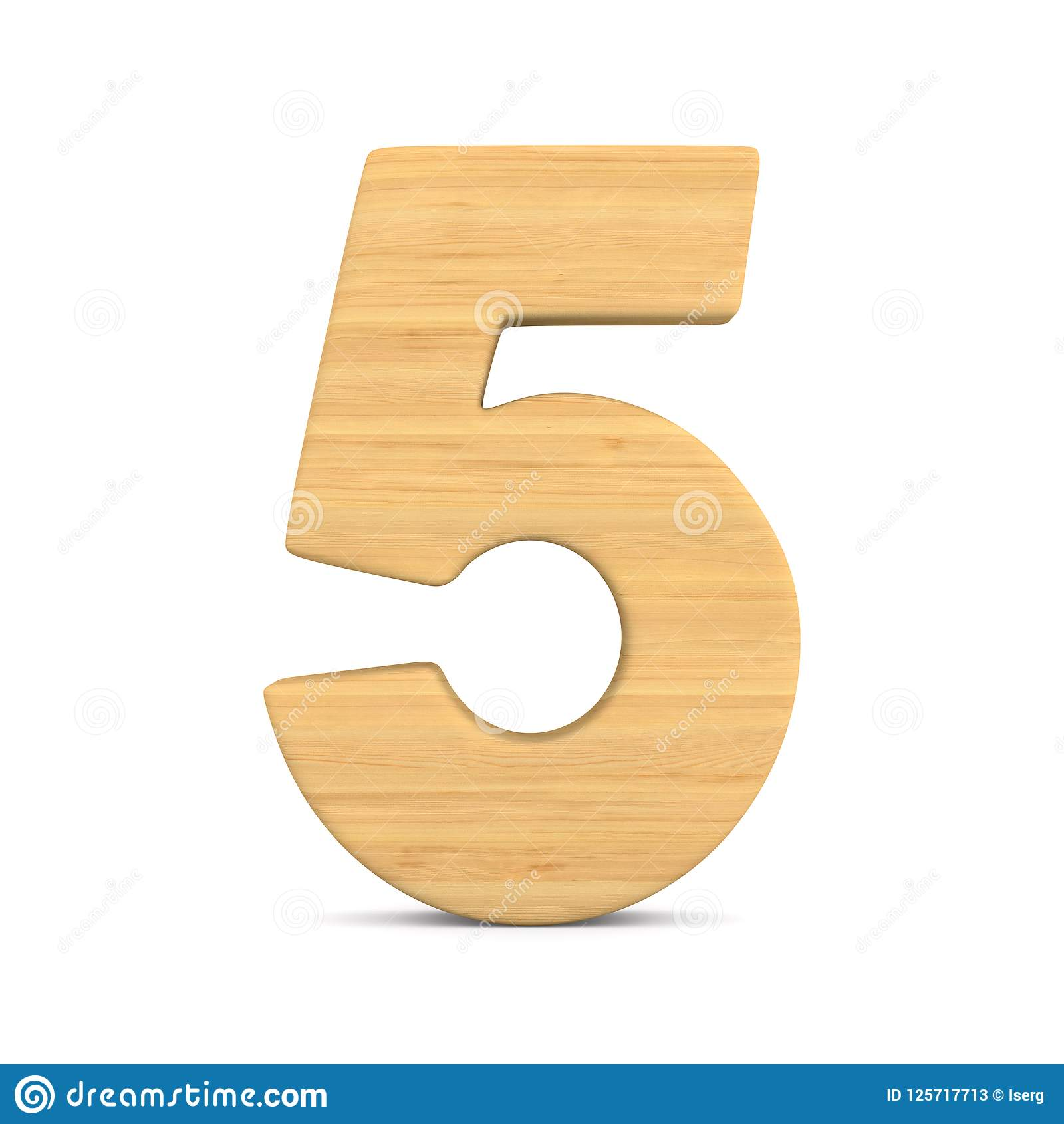 Number five on white background. Isolated 3D illustration