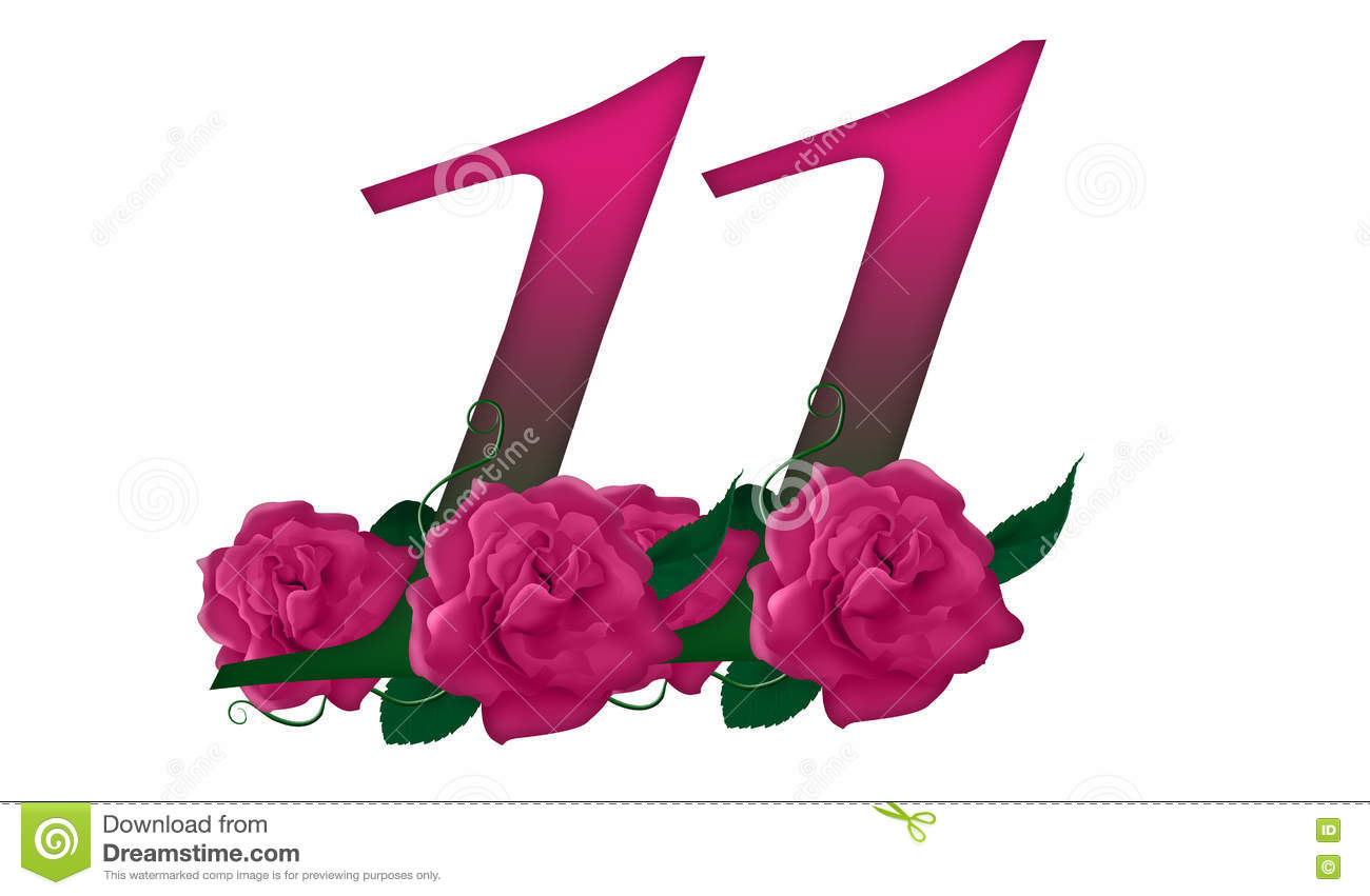 Number 11 Floral Stock Illustration Illustration Of