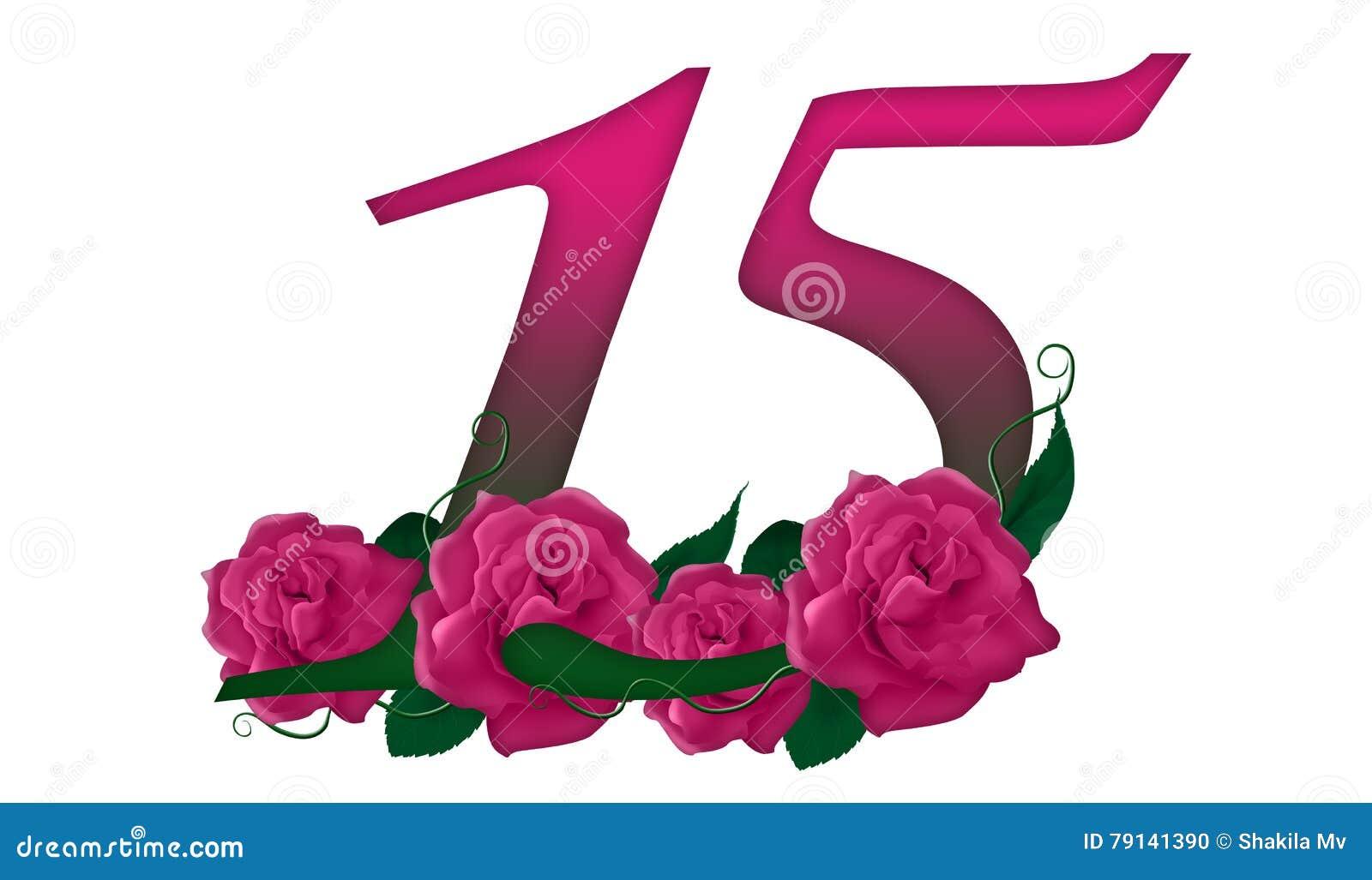 Number 15 Floral Stock Illustration Illustration Of Aged