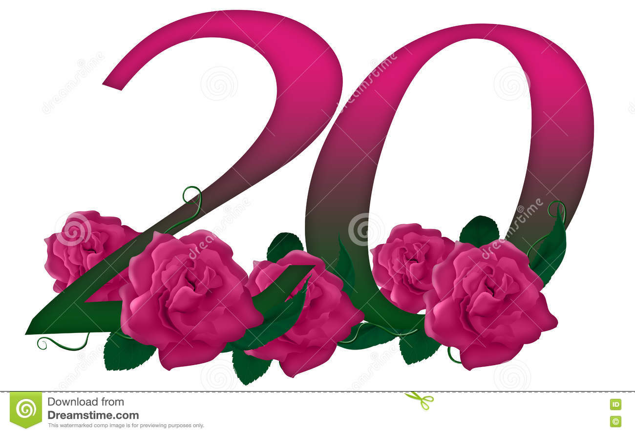 Number 20 Floral Stock Illustration Illustration Of