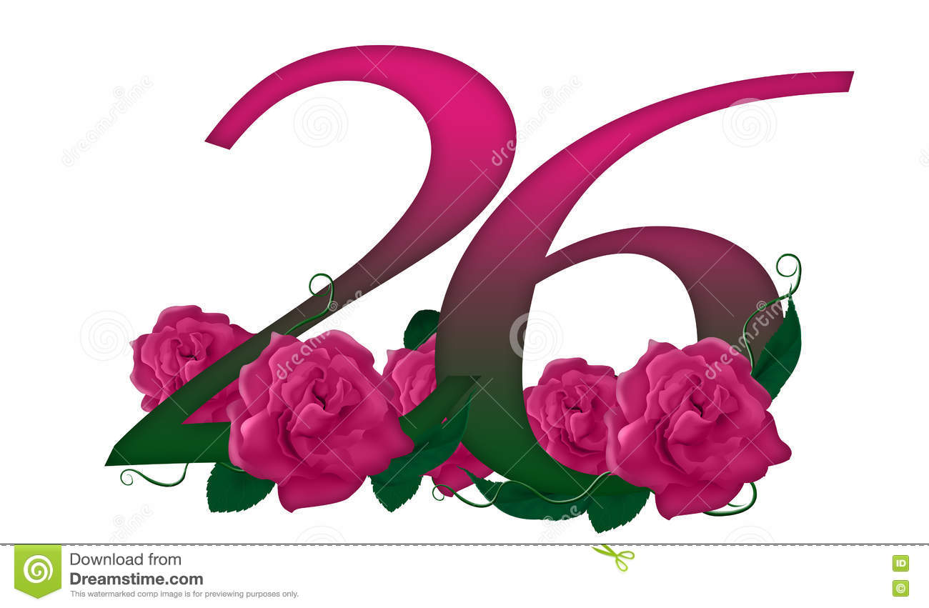number 26 floral stock illustration illustration of drawing 79141430