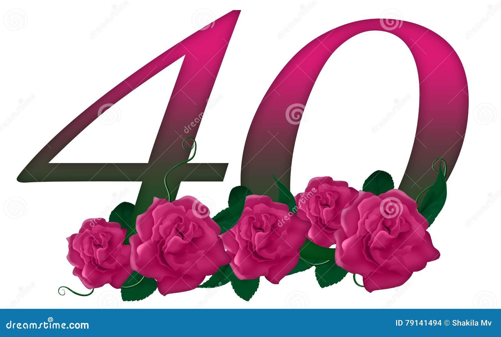 Number 40 Floral Stock Illustration Illustration Of Card