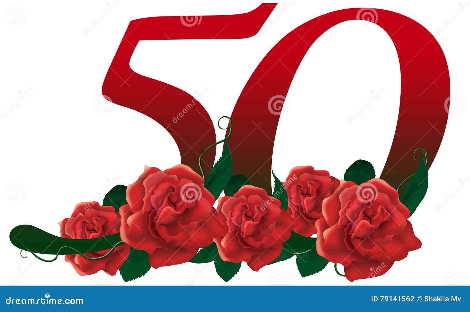 Fiori 50 Anniversario.Number 50 Flower Stock Illustration Illustration Of Clip 79141562
