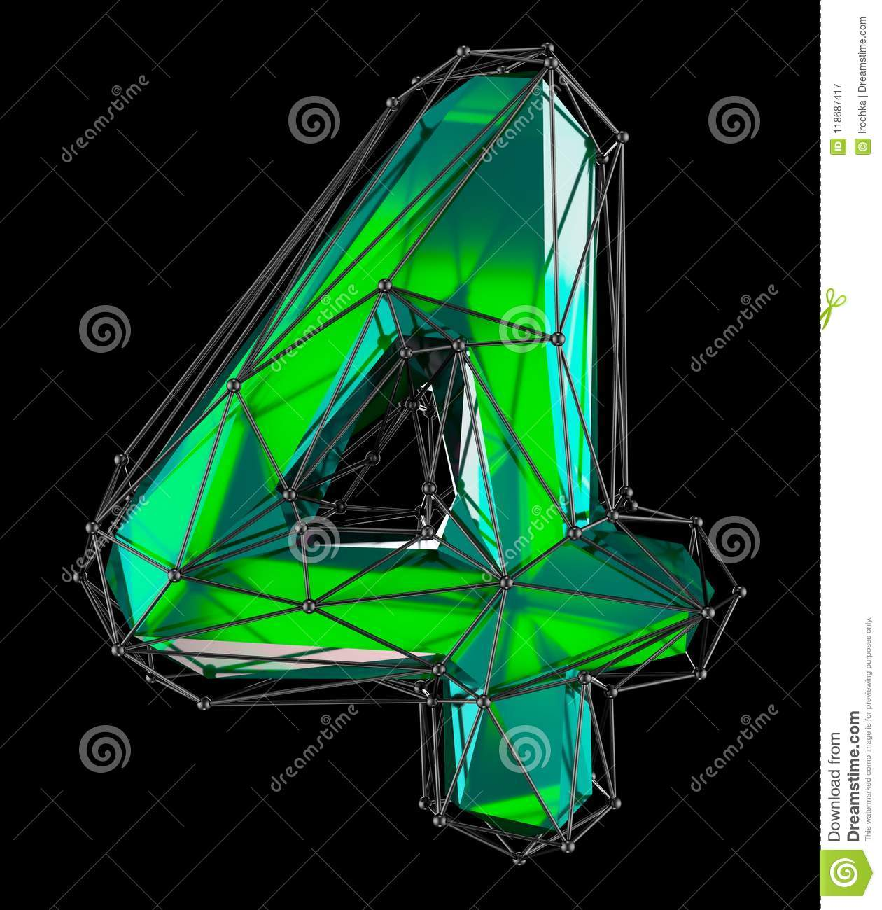 Number 4 Four In Low Poly Style Green Color Isolated On Black ...
