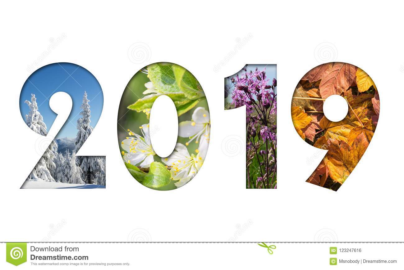 Number 2019 from Four Seasons Photos Stock Photo - Image of ...