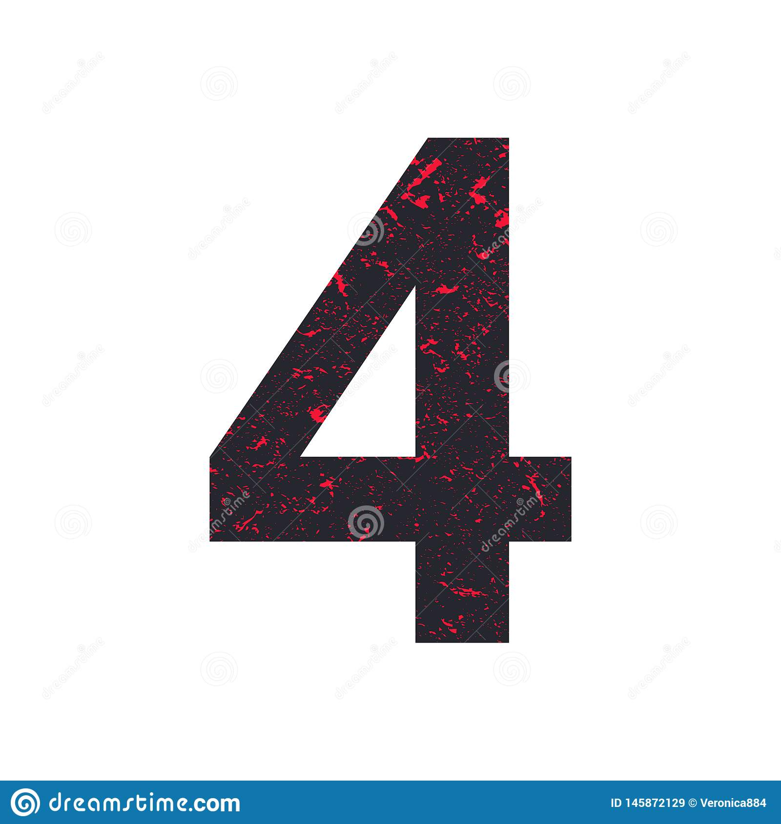 Number Four. 4 Stylized Grunge Texture. Stock Vector ...