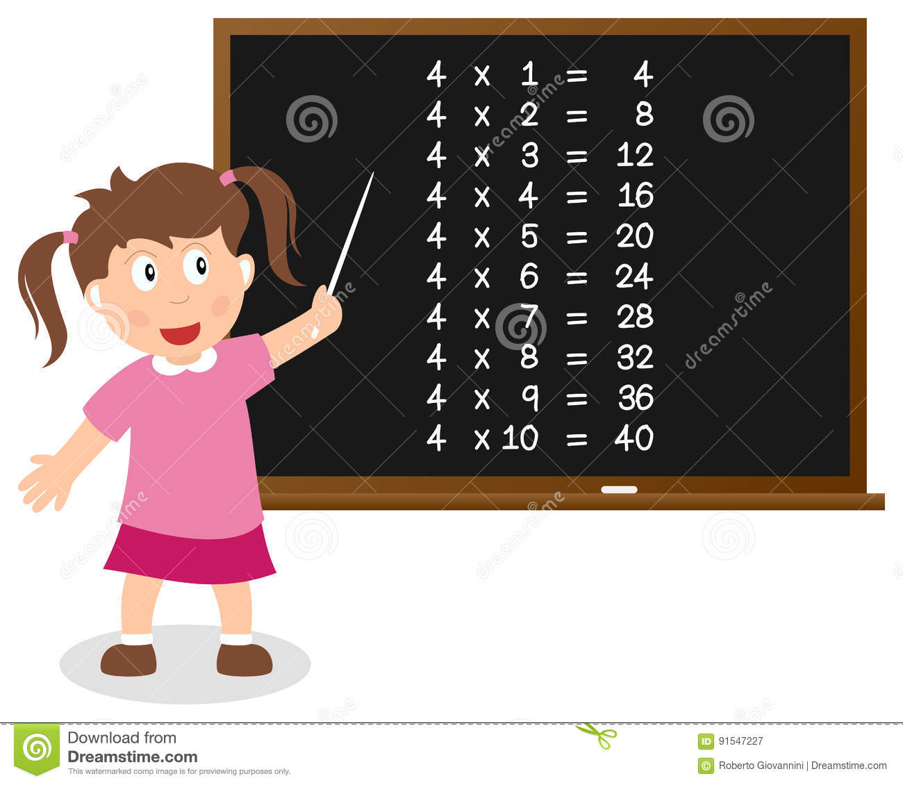 Number Four Times Table On Blackboard Stock Vector