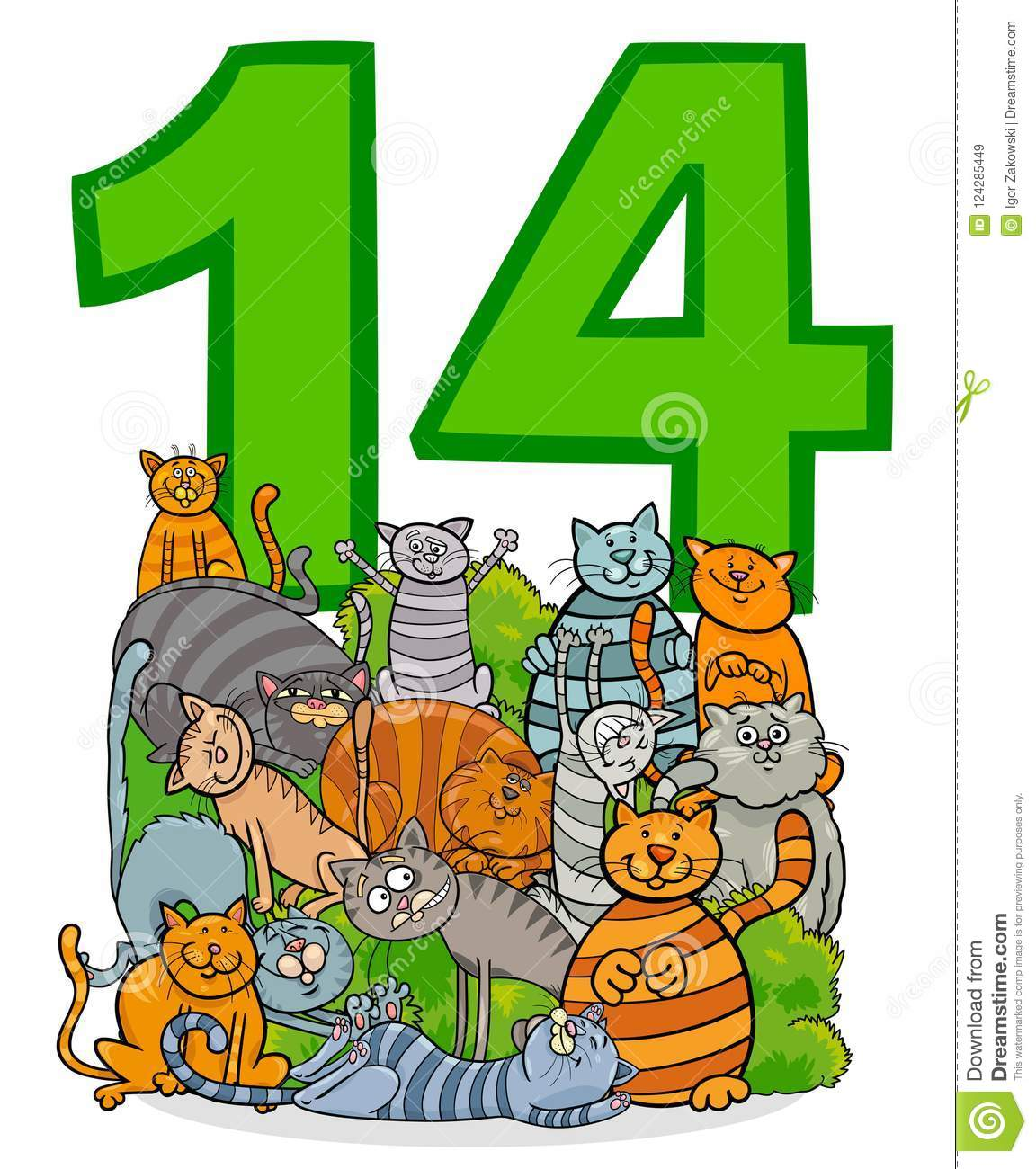 Number fourteen and cartoon cats group