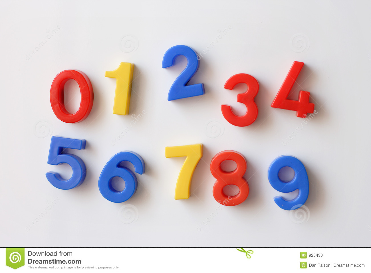 Number fridge magnets displaying numbers 0 - 9, messy.
