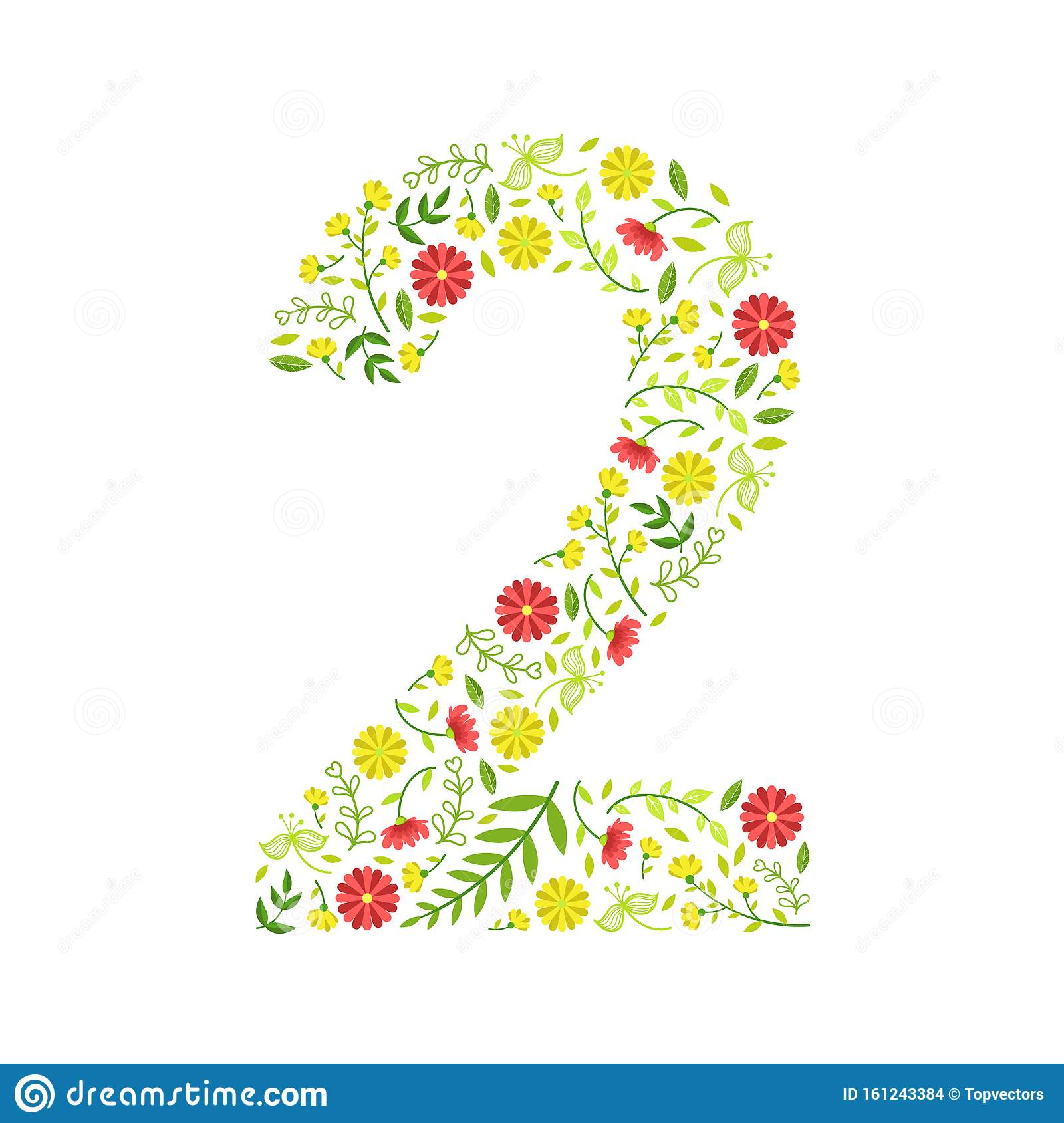 Number 2  Green Floral Number Made Of Leaves And Flowers Pattern Vector Illustration Stock