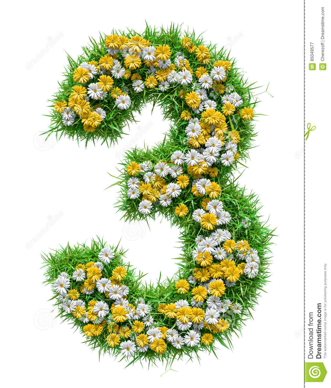 Number 3 Of Green Grass And Flowers Stock Illustration