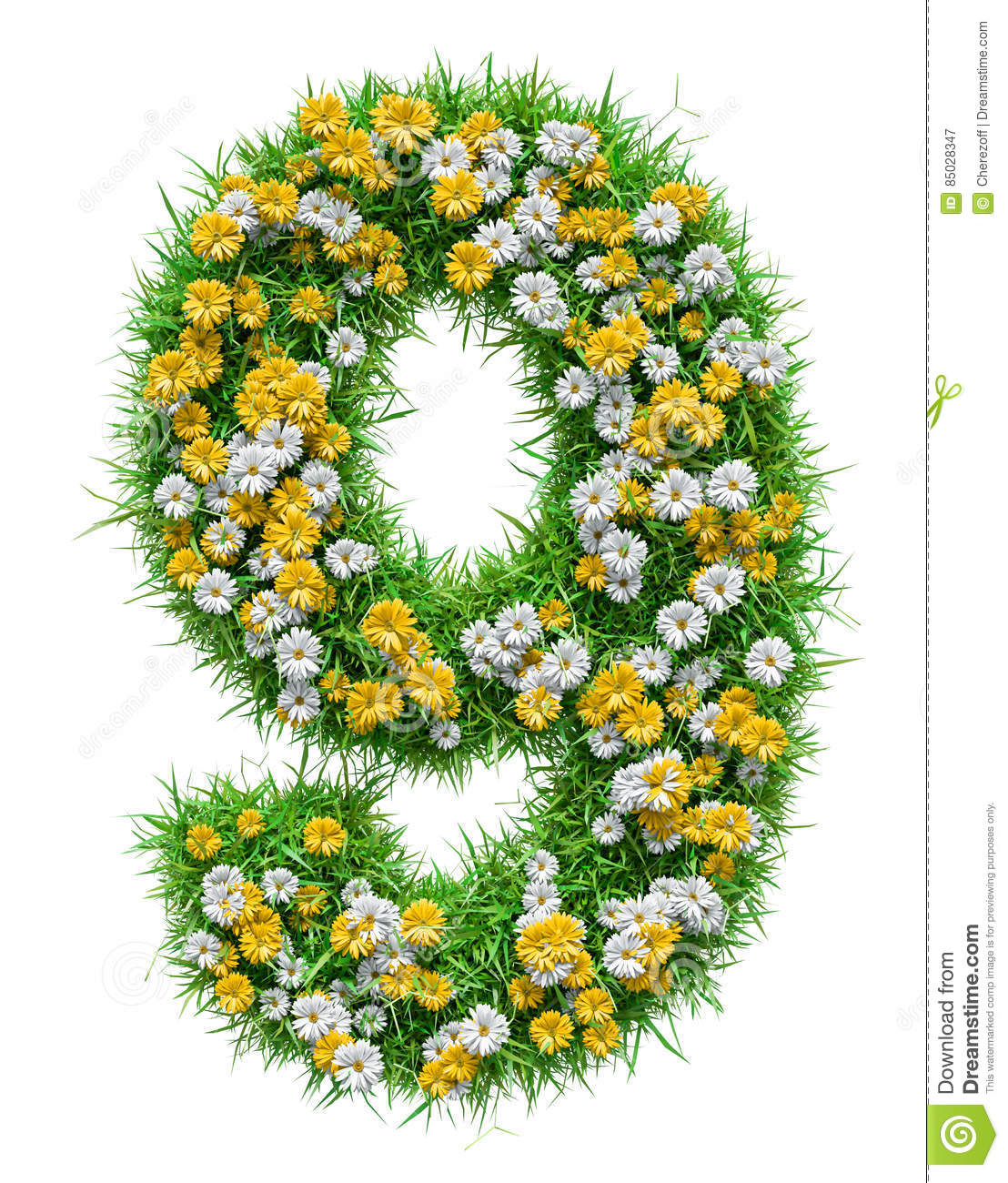 Number 9 Of Green Grass And Flowers Stock Illustration