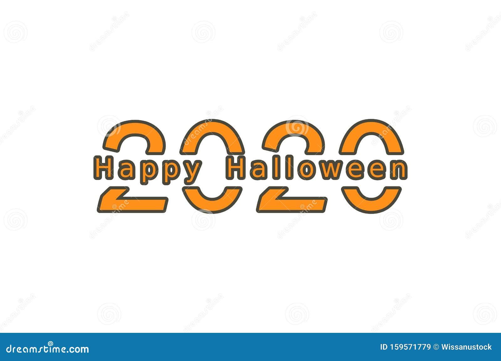 Cute Happy Halloween 2020 2020 Number With Happy Halloween Word Stock Vector   Illustration