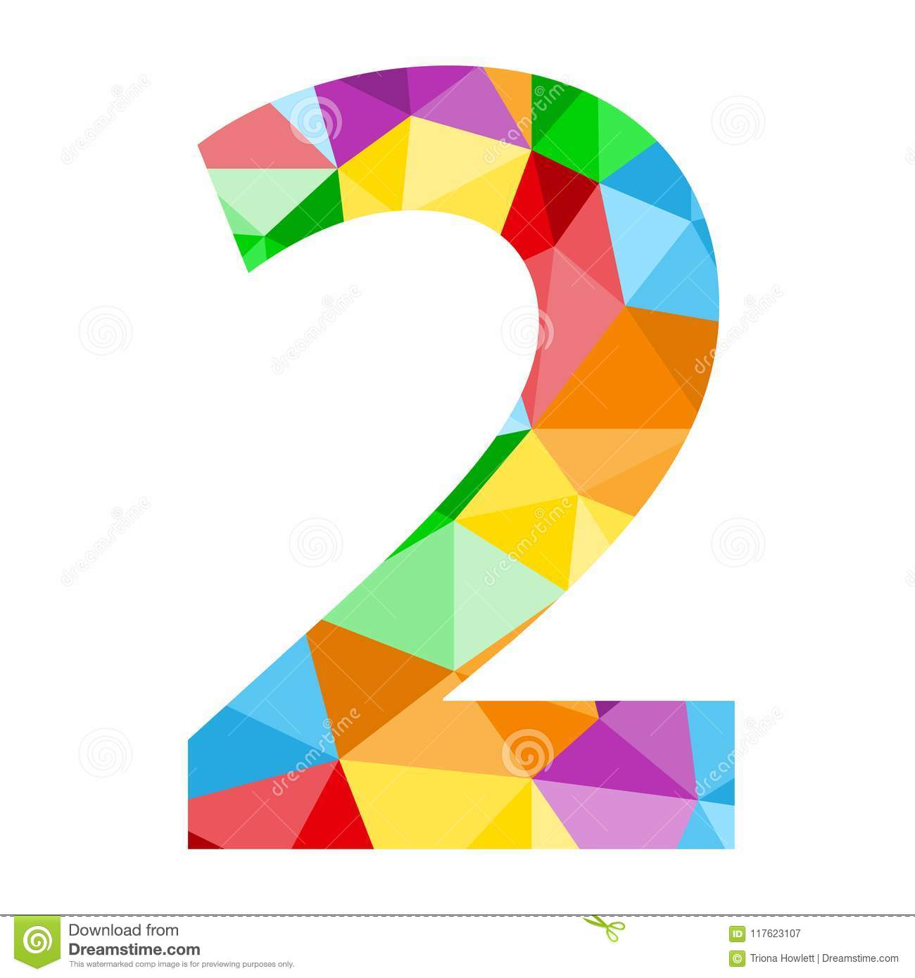 Number 2 Icon With Colorful Polygon Pattern Stock ...