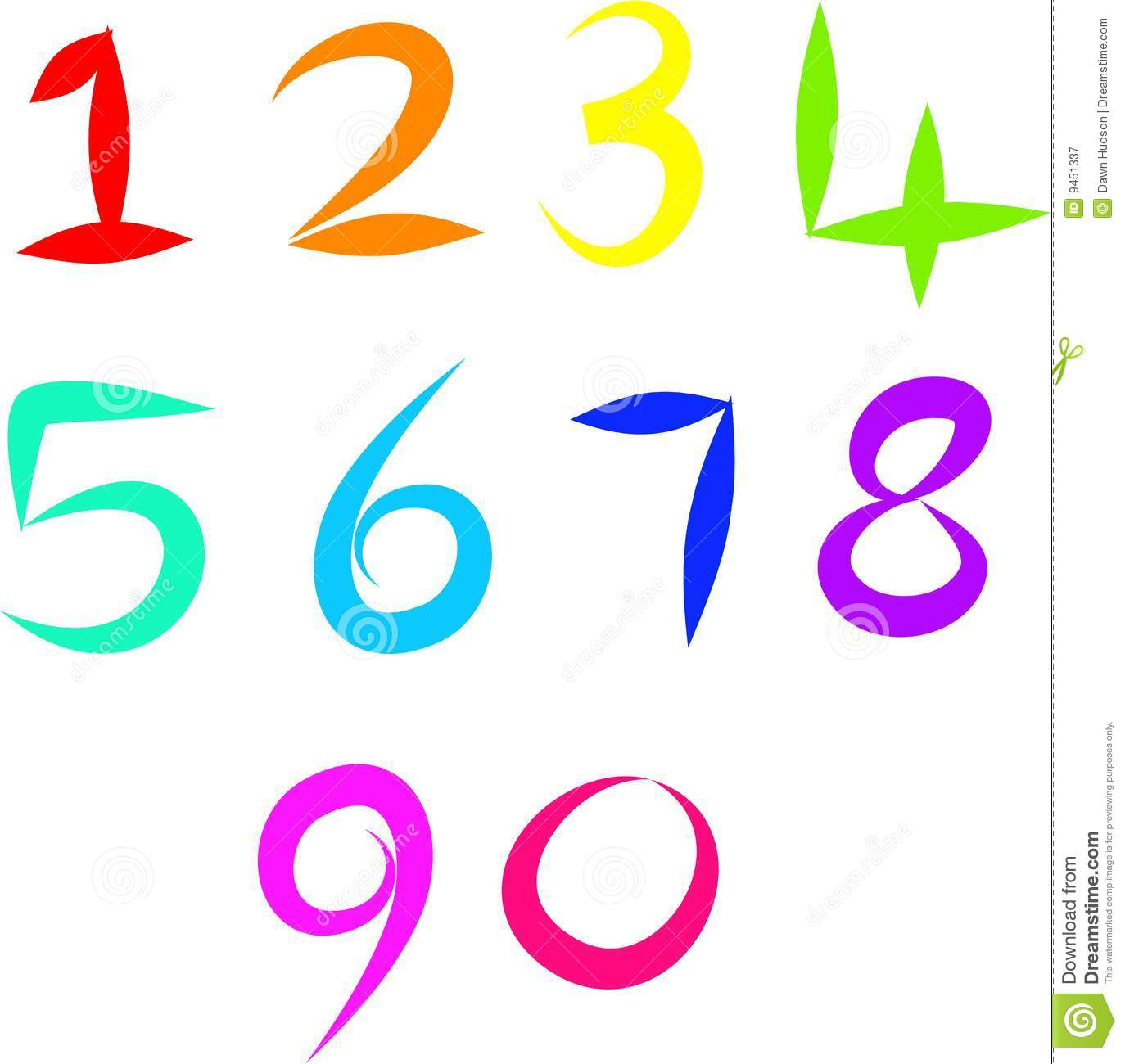 Set of colourful and simple hand drawn number icons isolated on white