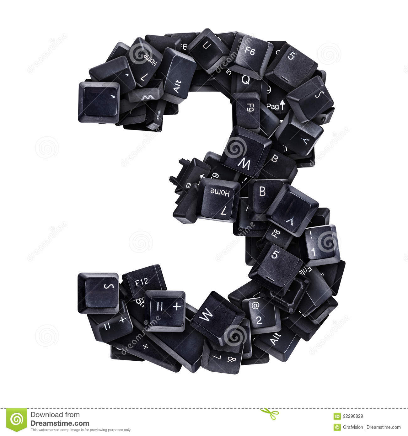 Number 3 Made Of Keyboard Buttons Stock Illustration