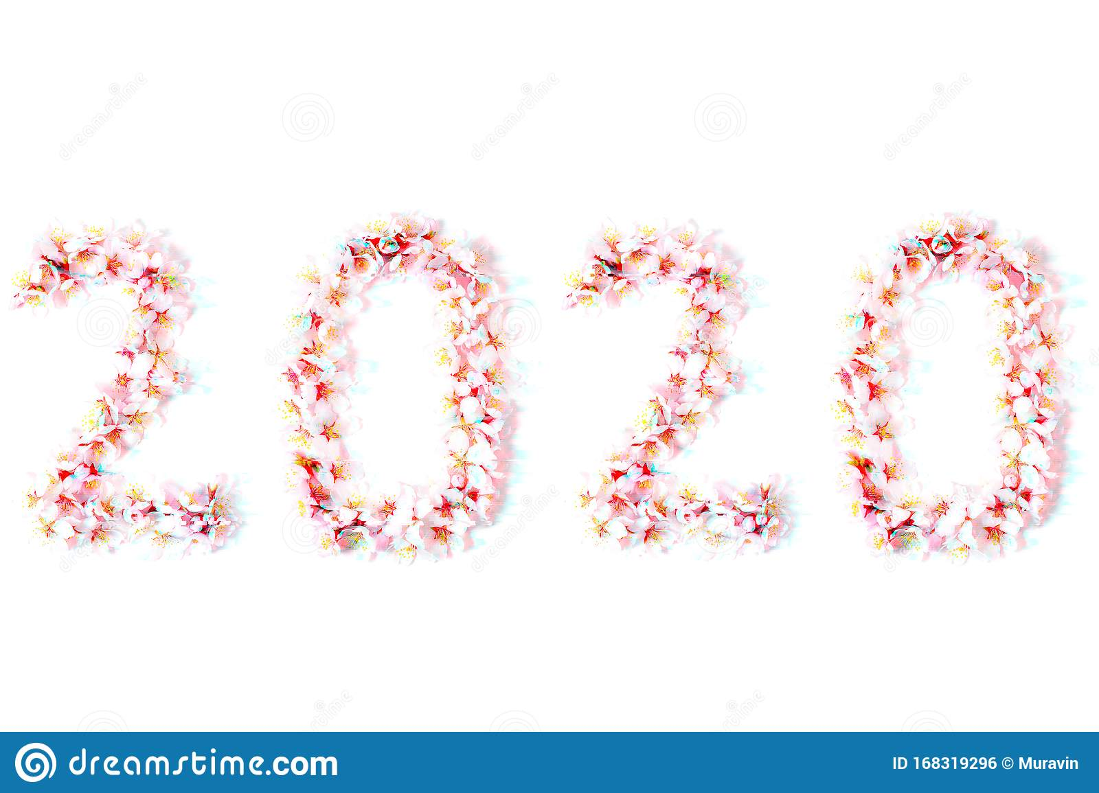 Number 2020 Made From Spring Flowers In Glitch Effect Stock Illustration