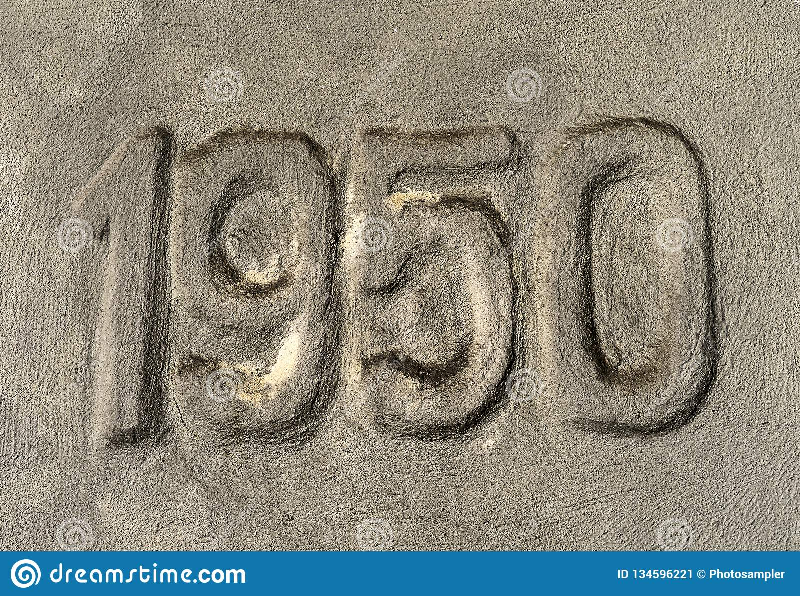 Number 1950 marked in the concrete