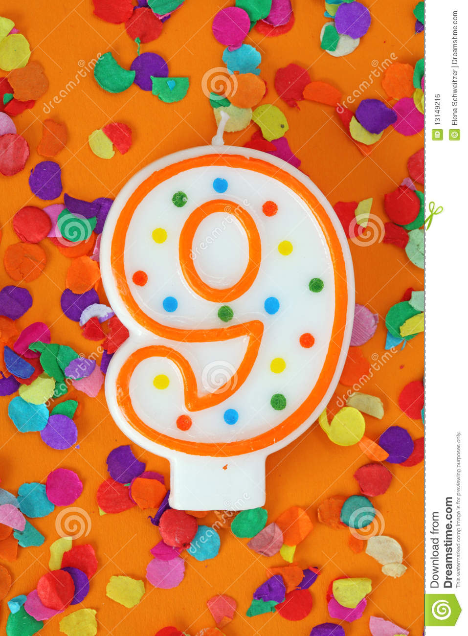 Number Nine Birthday Candle Stock Photo