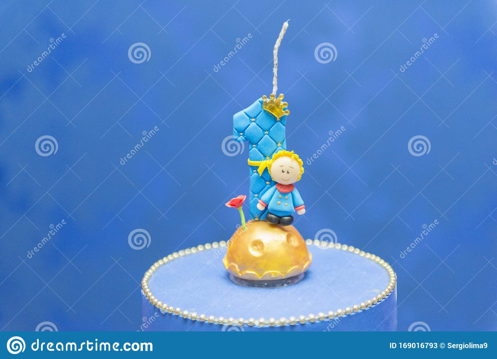 Swell Number One Candle On A Blue Background Little Prince Theme Fake Personalised Birthday Cards Fashionlily Jamesorg