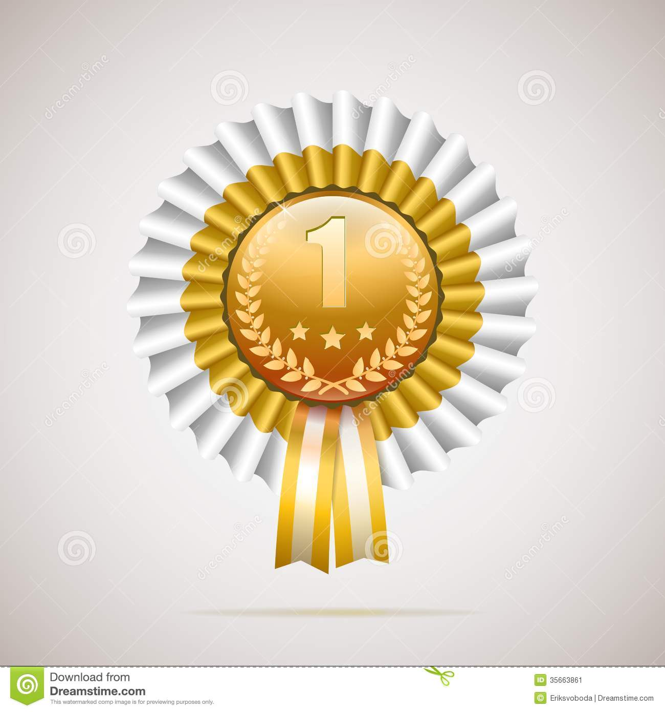 Number One Golden Award With White And Gold Ribbon Stock