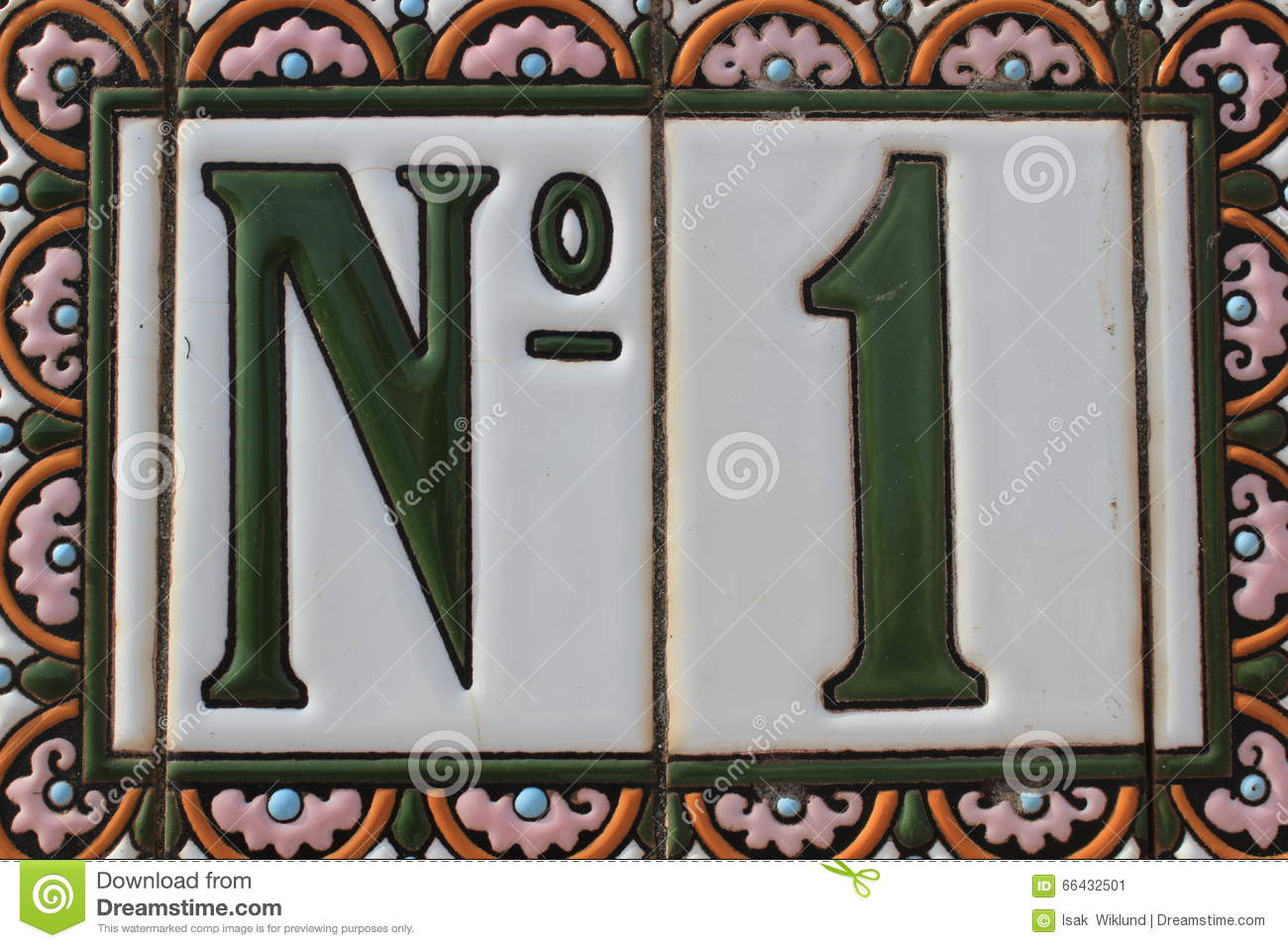 Number one 1 green white pink colorful design house number plate in spain best winner first