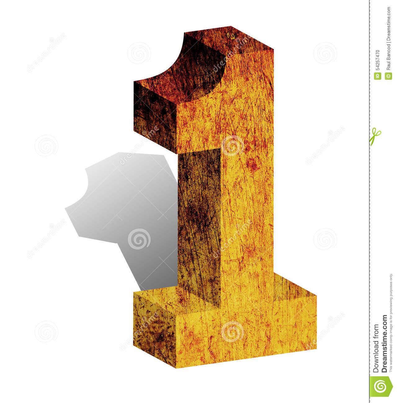 Number One 1 Numeral 3D 3-D Block Sign Isolated Stock Photo - Image ...