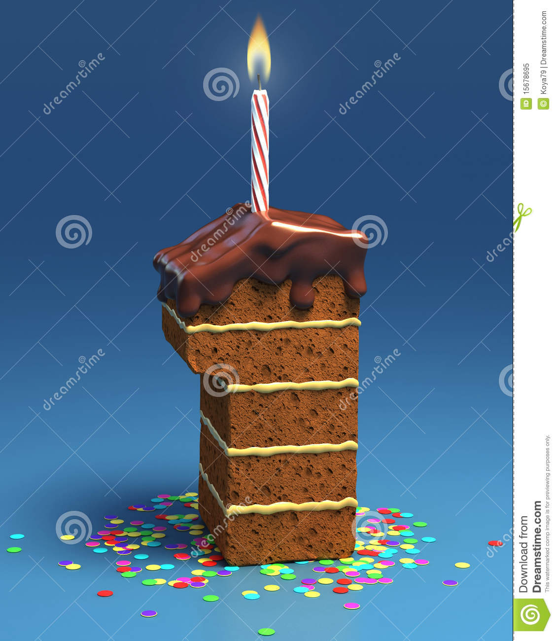 Number One Shaped Birthday Cake With Candle Royalty Free