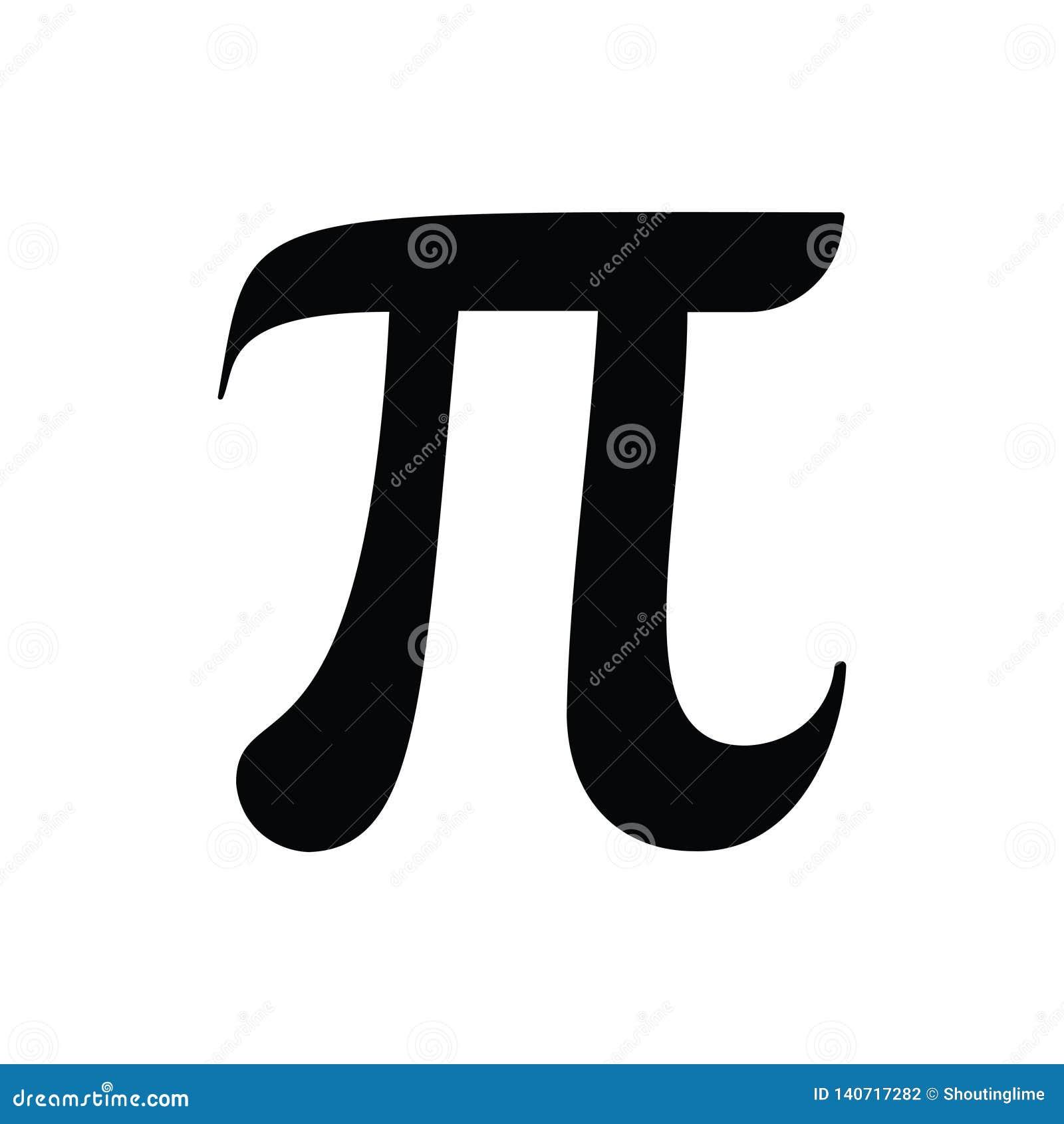 Pi Sign Vector Black Isolated on White Back