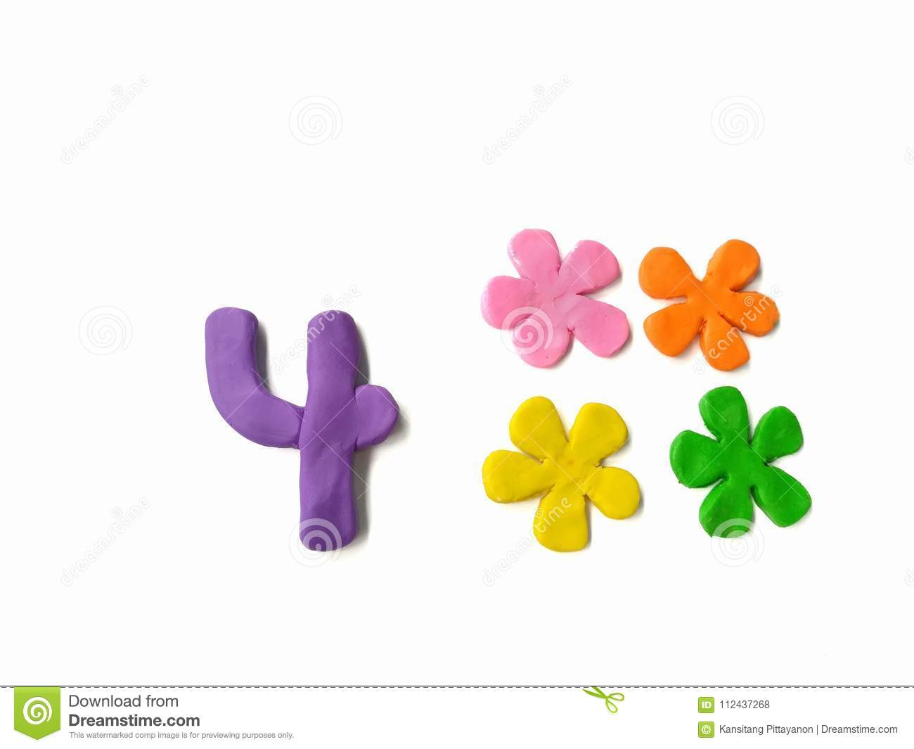 Number 4 plasticine clay, forur beautiful flowers, colorful floral, alphabet dough