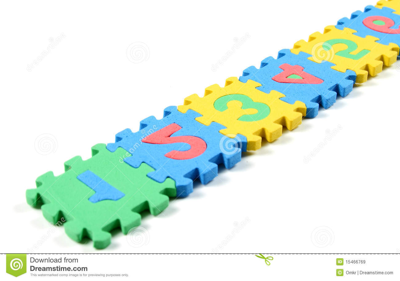 Number puzzles arranged in a row