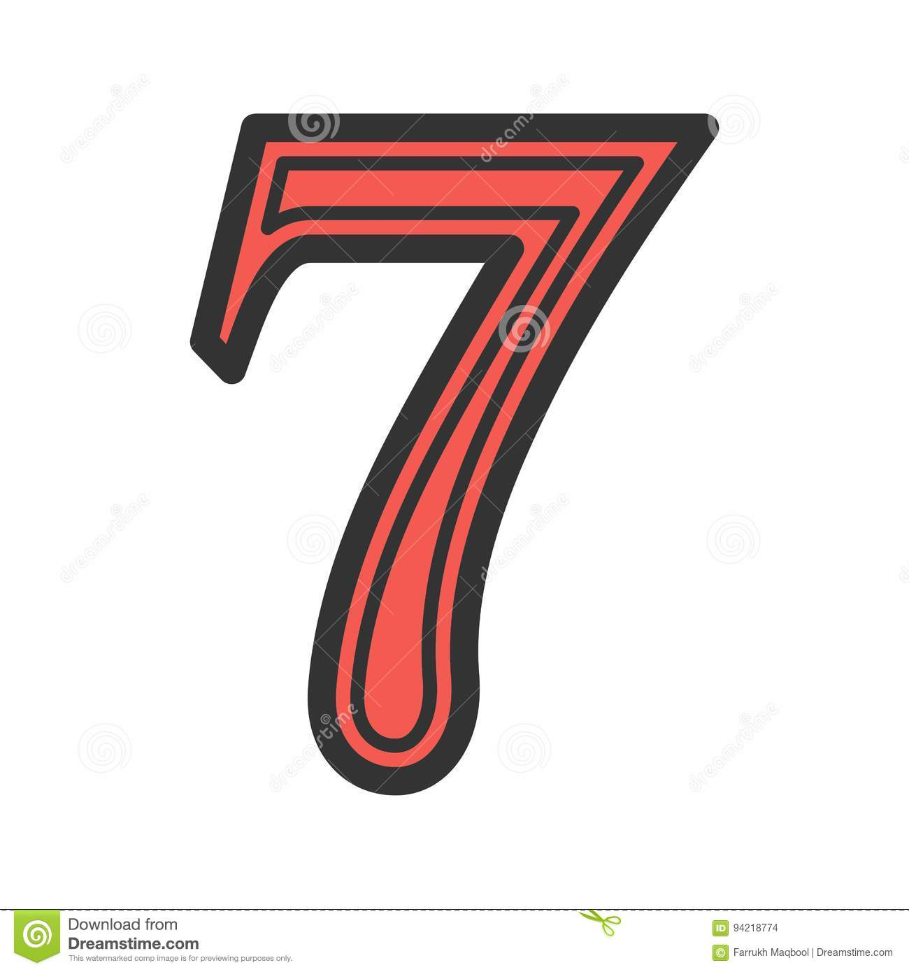 Number Seven stock vector  Illustration of seven, success