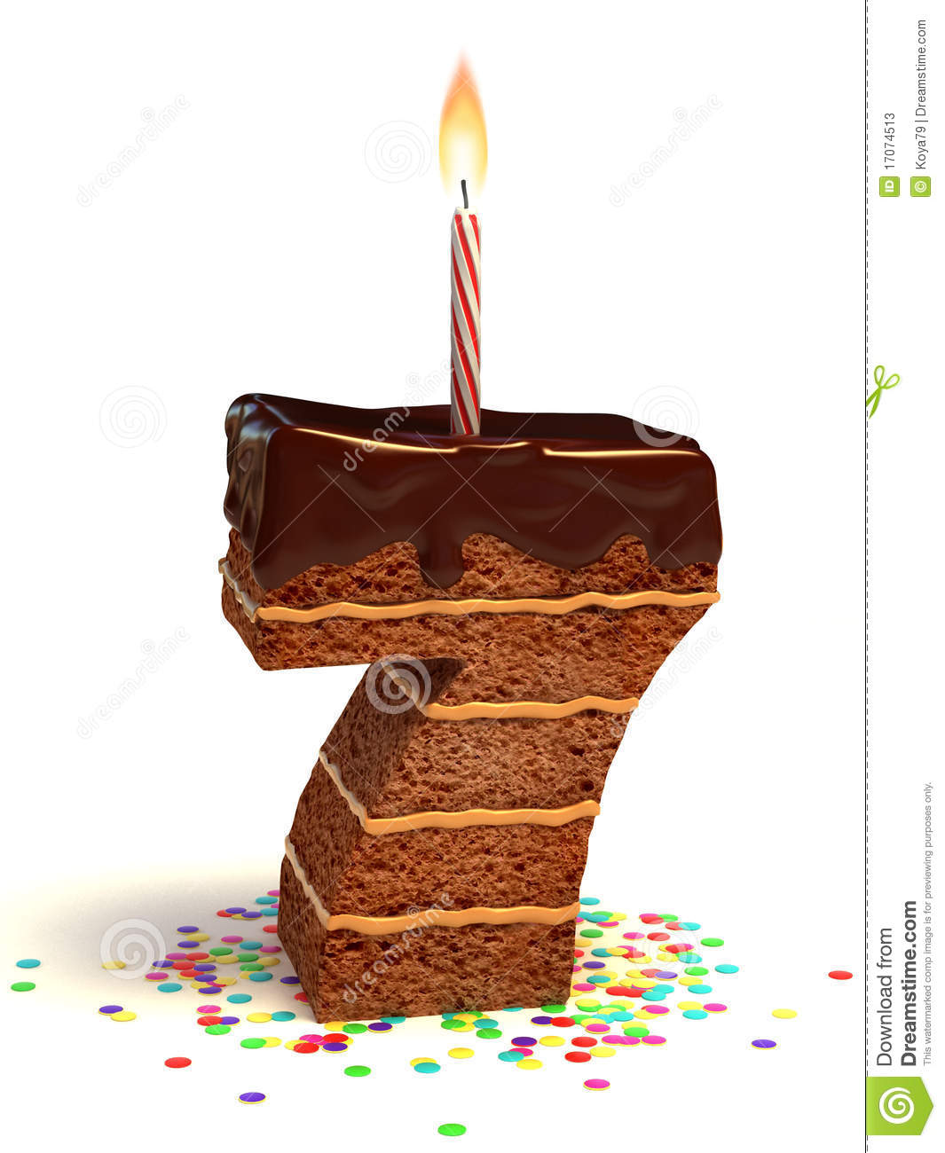 Number Seven Shape Birthday Cake