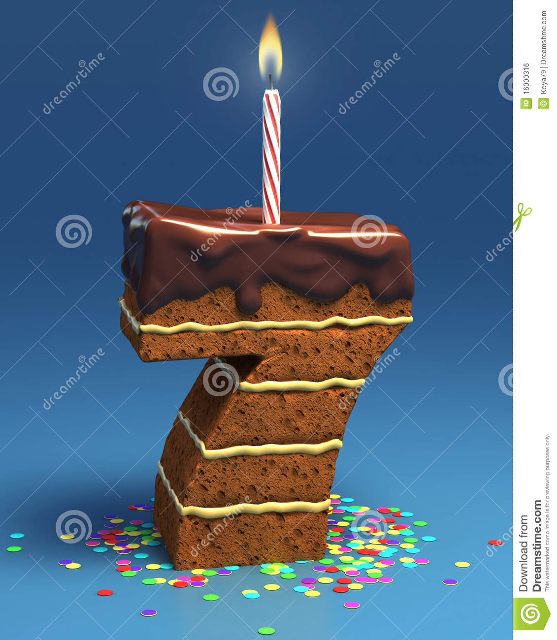 Number Seven Shaped Birthday Cake Stock Illustration