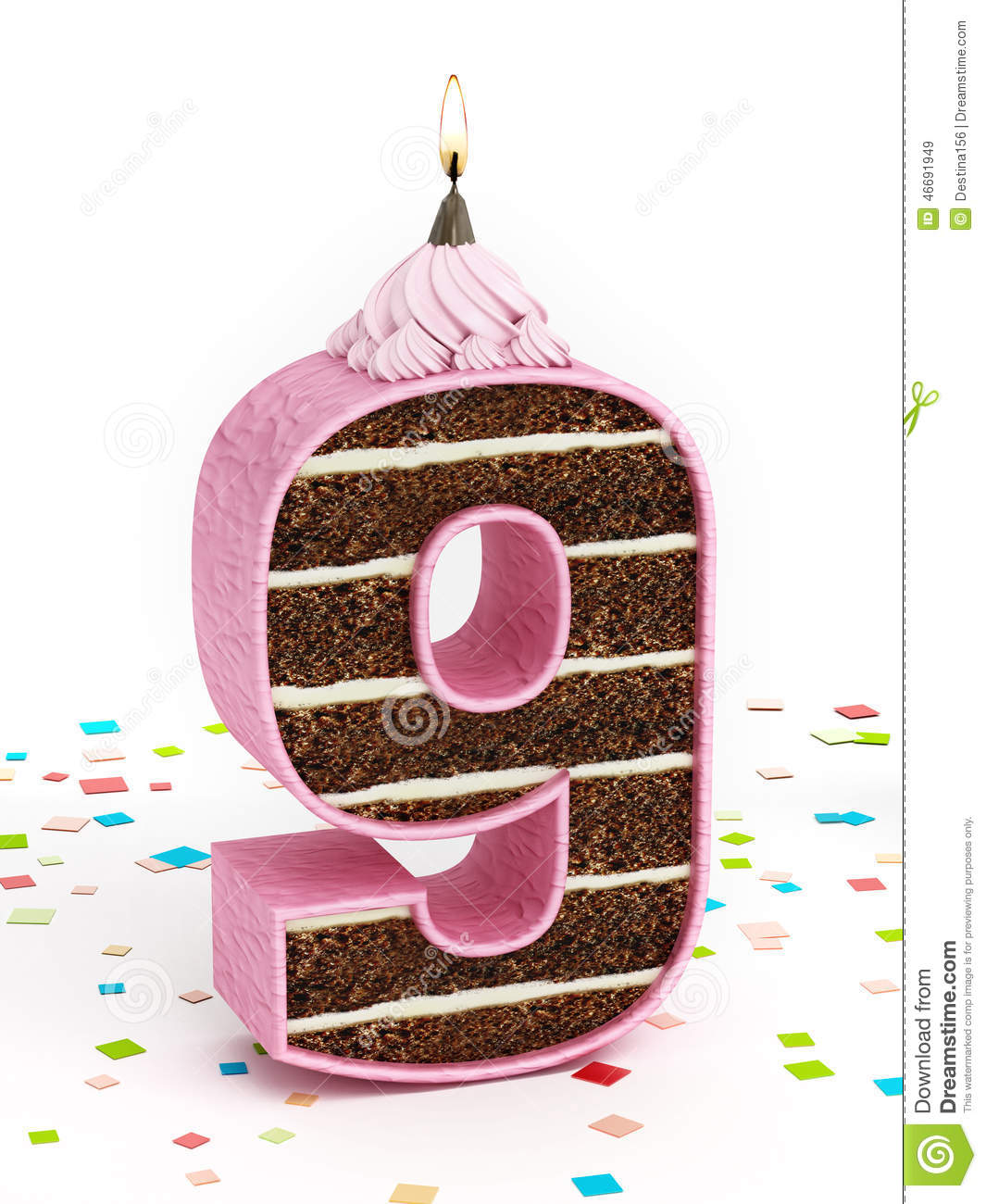 Number 9 Shaped Chocolate Birthday Cake With Lit Candle Stock Image