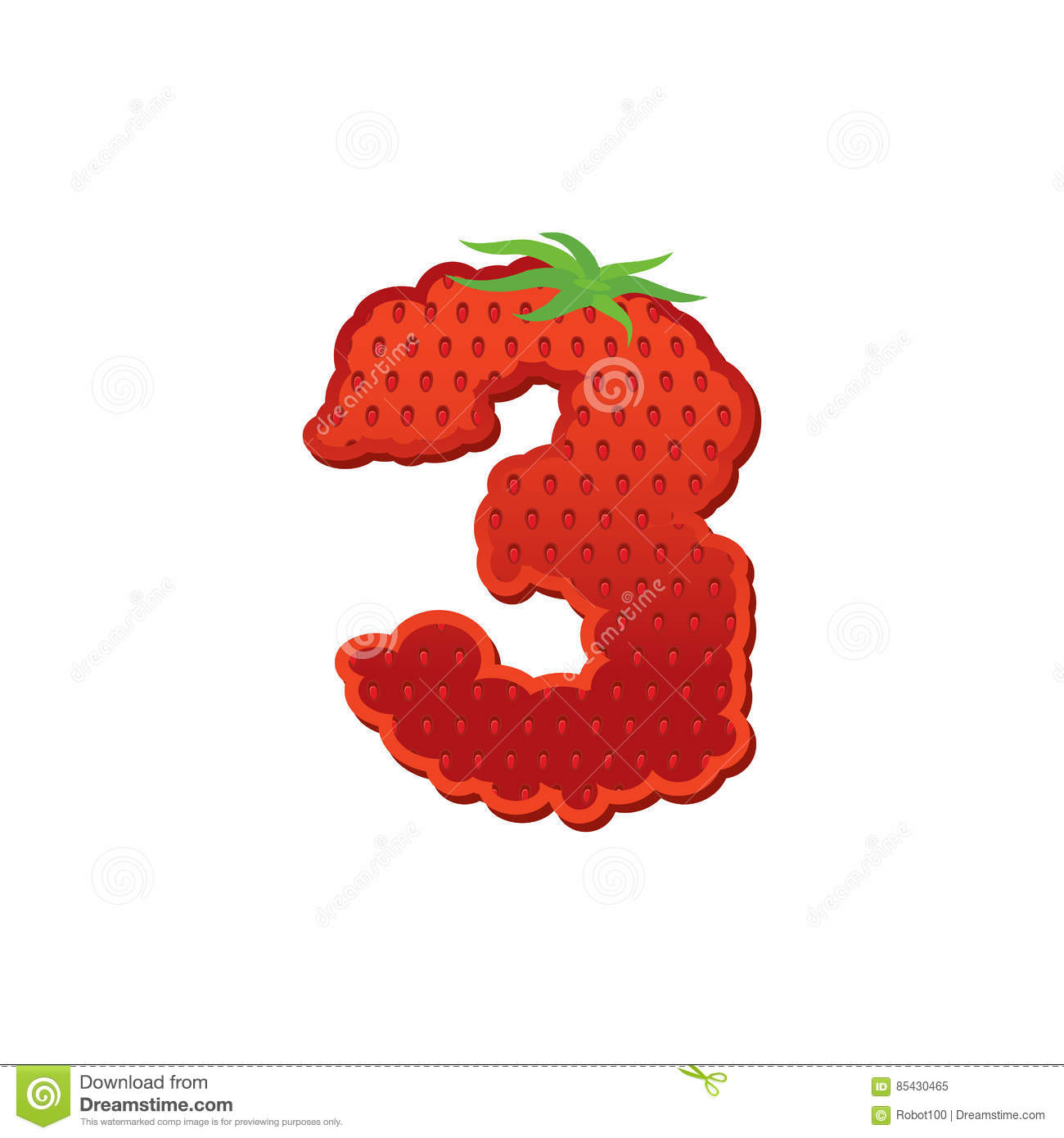 Number 3 Strawberry Font  Red Berry Lettering Three Alphabet  Fr