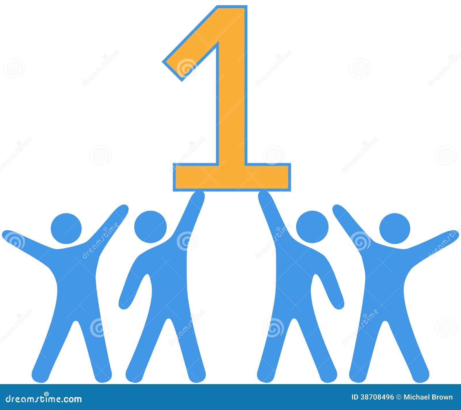 Number 1 Team People Celebrate Big Win Stock Vector