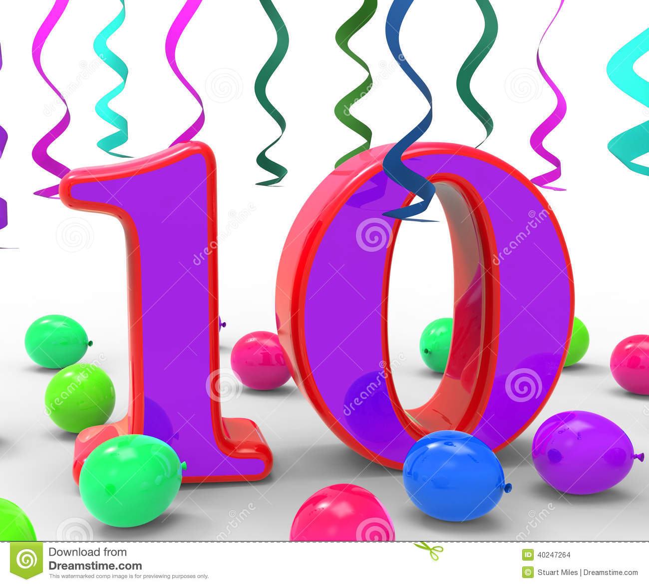 Number Ten Party Means Birthday Party Stock Illustration